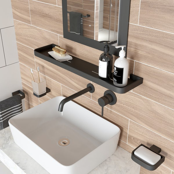 Mode Spencer black bathroom shelf