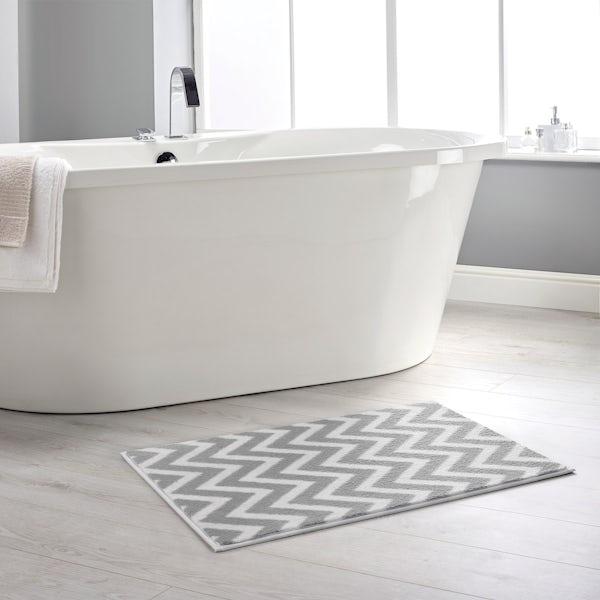 Hug Rug grey chevron bathroom mat 80 x 50cm