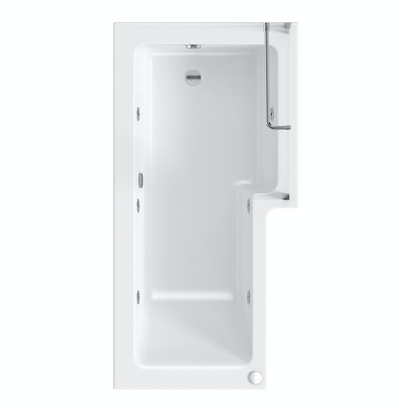 L shaped right handed 6 jet whirlpool shower bath with front panel and screen