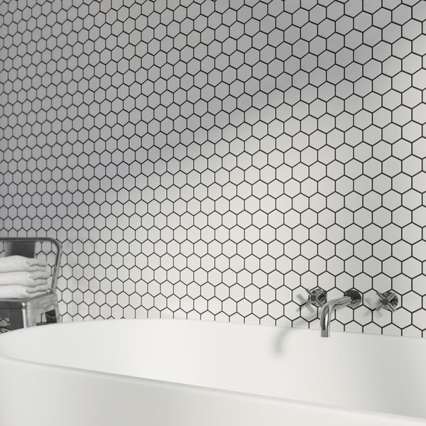 British Ceramic Tile Mosaic Hex White Gloss Tile 300mm X