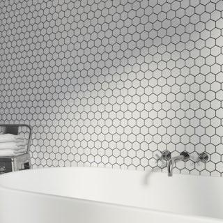 British Ceramic Tile Mosaic hex white gloss tile 300mm x 300mm - 1 sheet