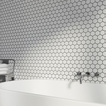 Mosaic hex white gloss tile 300mm x 300mm - 1 sheet