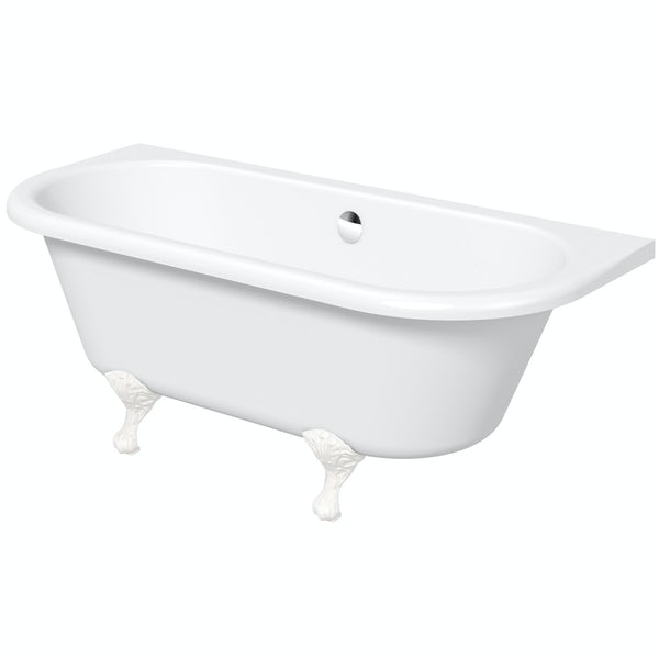 The Bath Co. Dulwich back to wall roll top bath with white ball and claw feet 1700 x 750