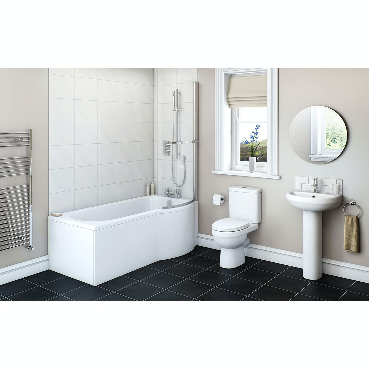 Orchard Eden bathroom suite with right handed P shaped shower bath
