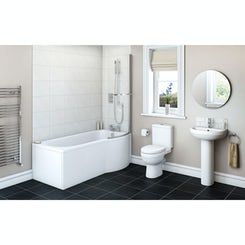 Energy Bathroom Suite with right handed Evesham P shaped shower bath 1675 x 850
