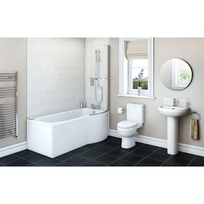 Eden Bathroom Suite with right handed P shaped shower bath 1675 x 850