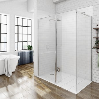 8mm Walk in Shower Glass Panel Pack 1400 x 900