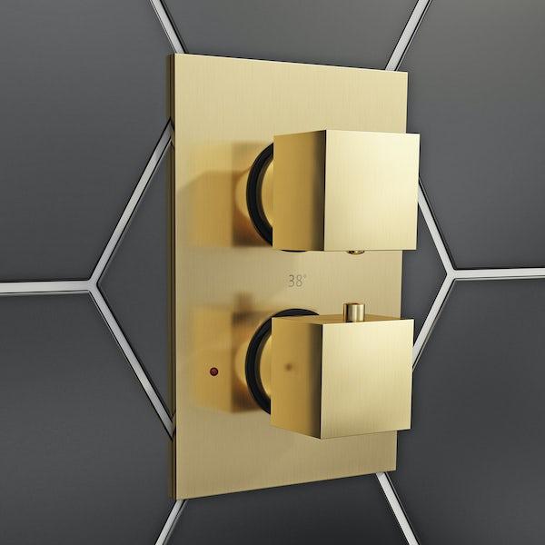 Mode Cubik thermostatic twin valve brushed gold shower set