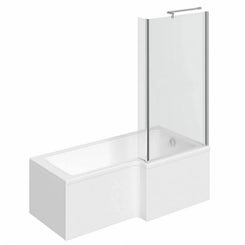 Boston right handed L shaped shower bath 1700mm with 6mm shower screen