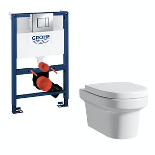 Mode Burton wall hung toilet, Grohe frame and Skate Cosmopolitaion push plate 0.82m