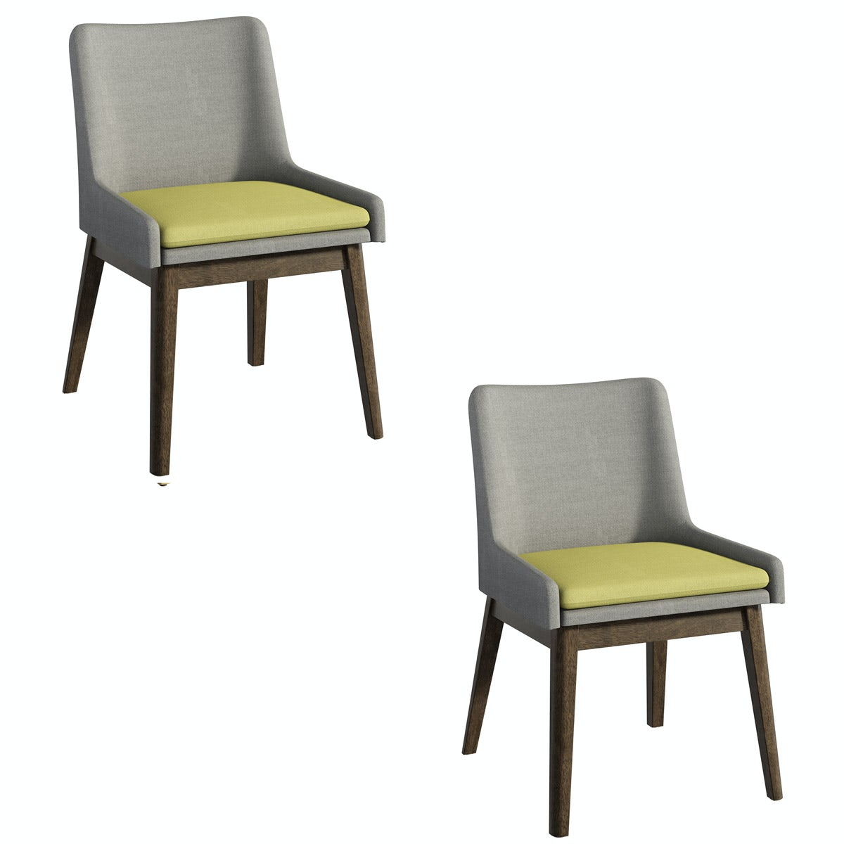 Lincoln Walnut and Grey/Green Pair of Dining Chairs