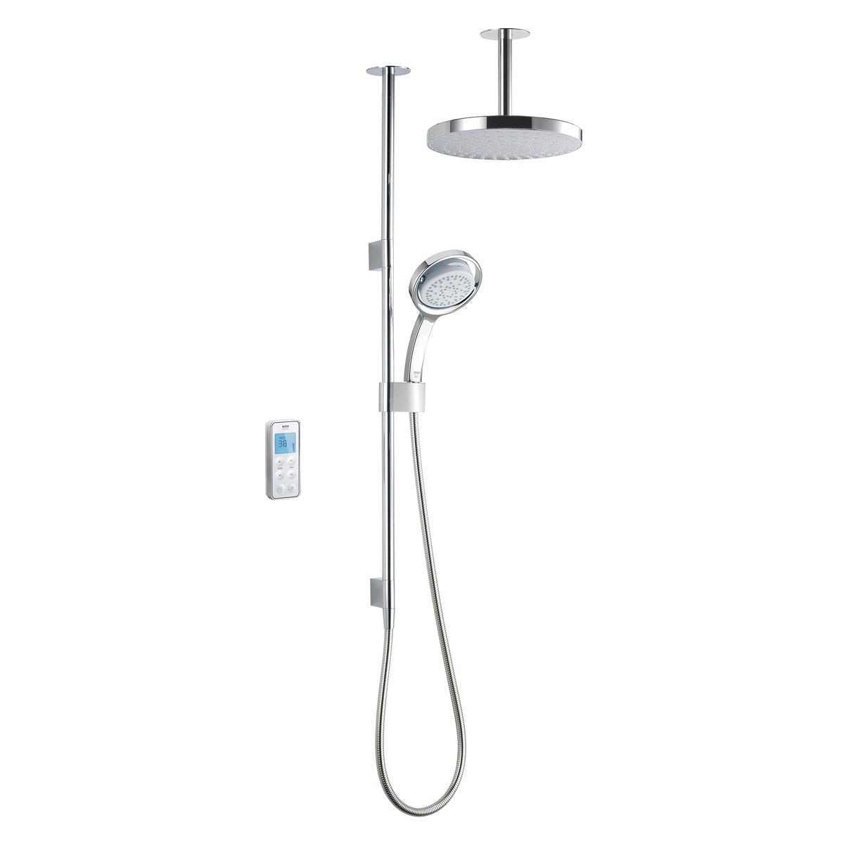 Mira Vision dual ceiling fed digital shower pumped
