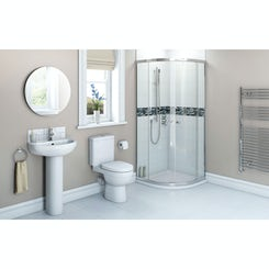 Energy suite with sliding quadrant shower enclosure and tray 900 x 900