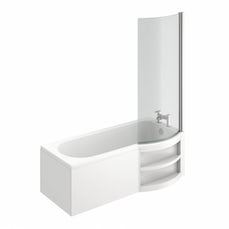 Image of MySpace Water Saving P Shape Shower Bath Right Hand with Storage Panel & 6mm Screen