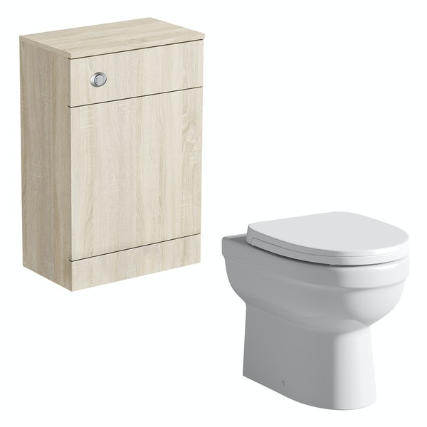 Orchard Wye oak back to wall unit with Eden toilet and seat