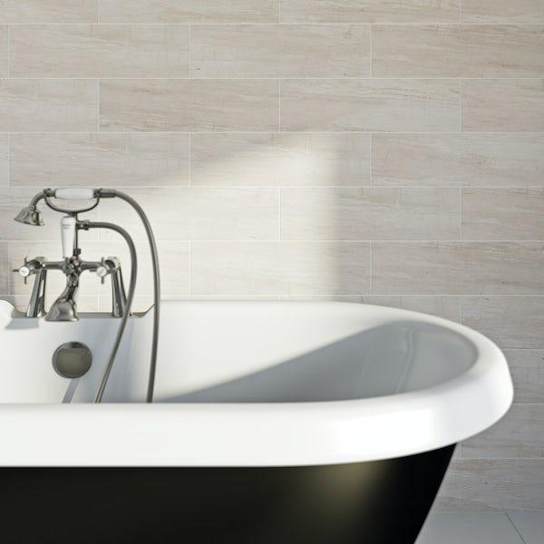 British Ceramic Tile Bark white wood effect white matt tile 148mm x 498mm