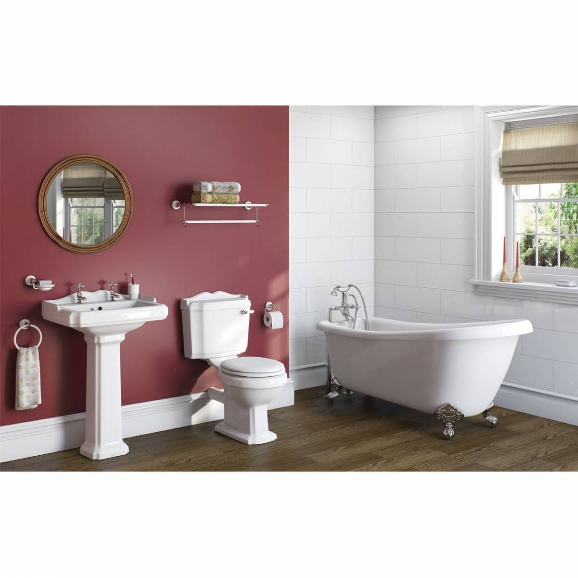 Winchester Bathroom Suite With Roll Top Bath And Taps Part 90