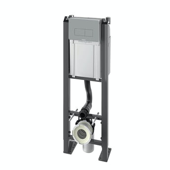 Chrono wall hung toilet mounting frame with chrome effect push plate