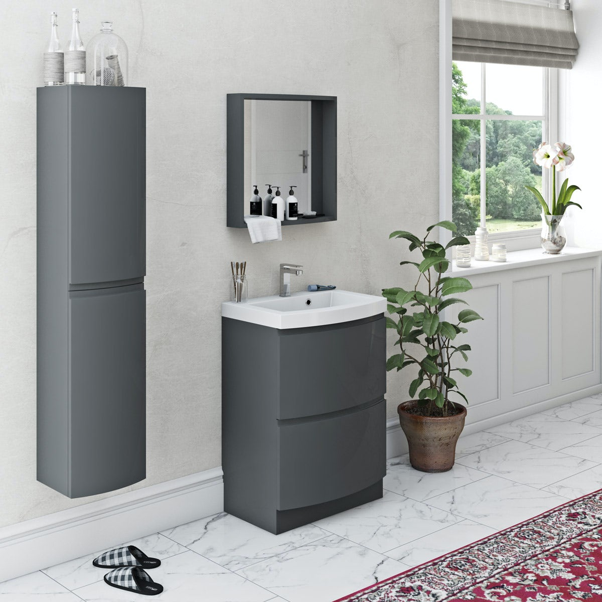 Mode Harrison slate furniture package with floorstanding drawer unit 600mm