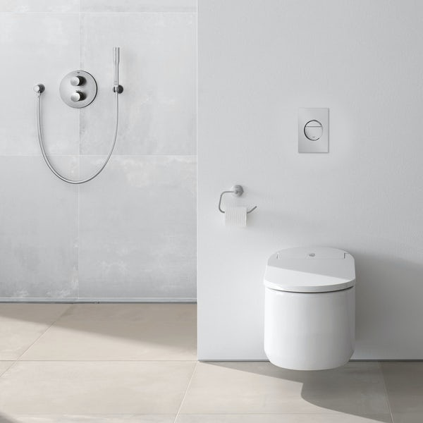 grohe sensia arena smart toilet with soft close seat rapid sl frame and nova flush plate. Black Bedroom Furniture Sets. Home Design Ideas