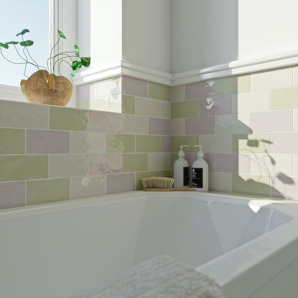 Laura Ashley Artisan willow green wall tile 75mm x 150mm