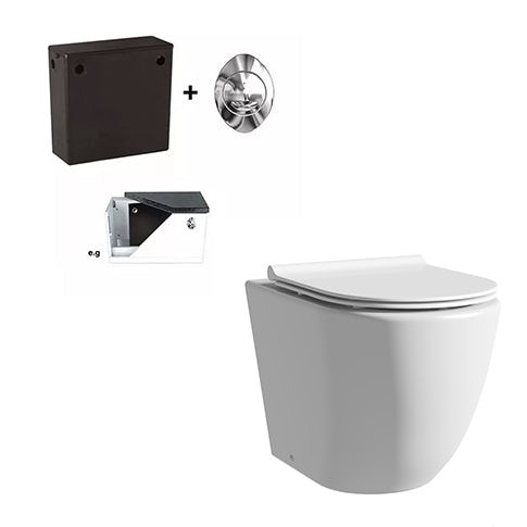 Mode Harrison rimless back to wall toilet with slimline soft close seat and concealed cistern