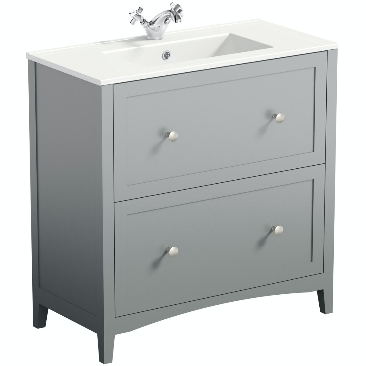 The Bath Co Camberley Grey Vanity Unit With Basin 800mm