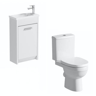 Clarity white cloakroom unit with Eden close coupled toilet