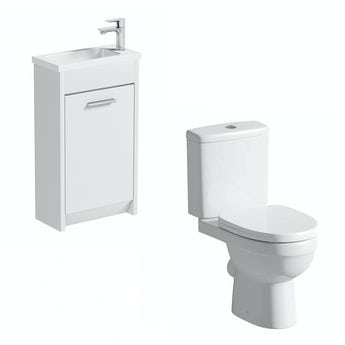 Smart white cloakroom unit with Energy close coupled toilet