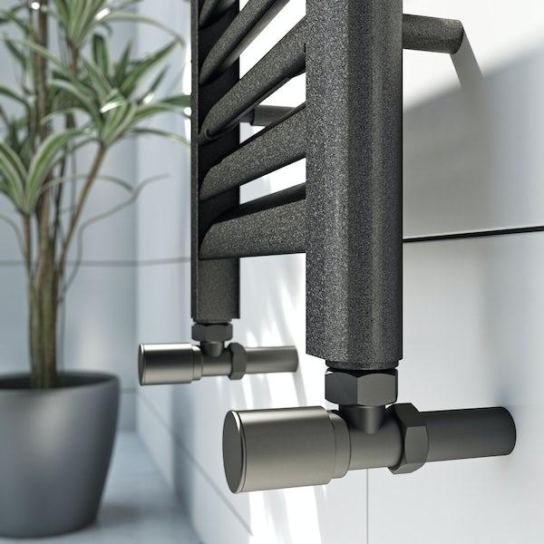 Mode Carter charcoal black heated towel rail 1200 x 300mm