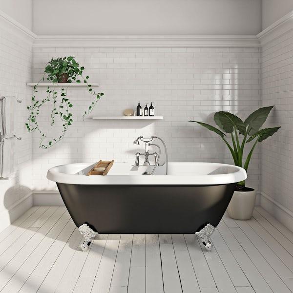 Dulwich Black Roll Top Bath with Ball Feet