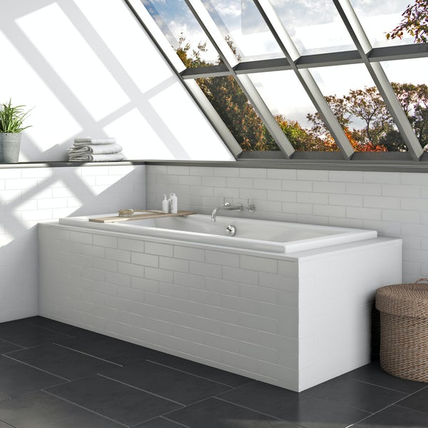 Orchard ready to tile bath front panel with tiled lip for baths up to 2050mm