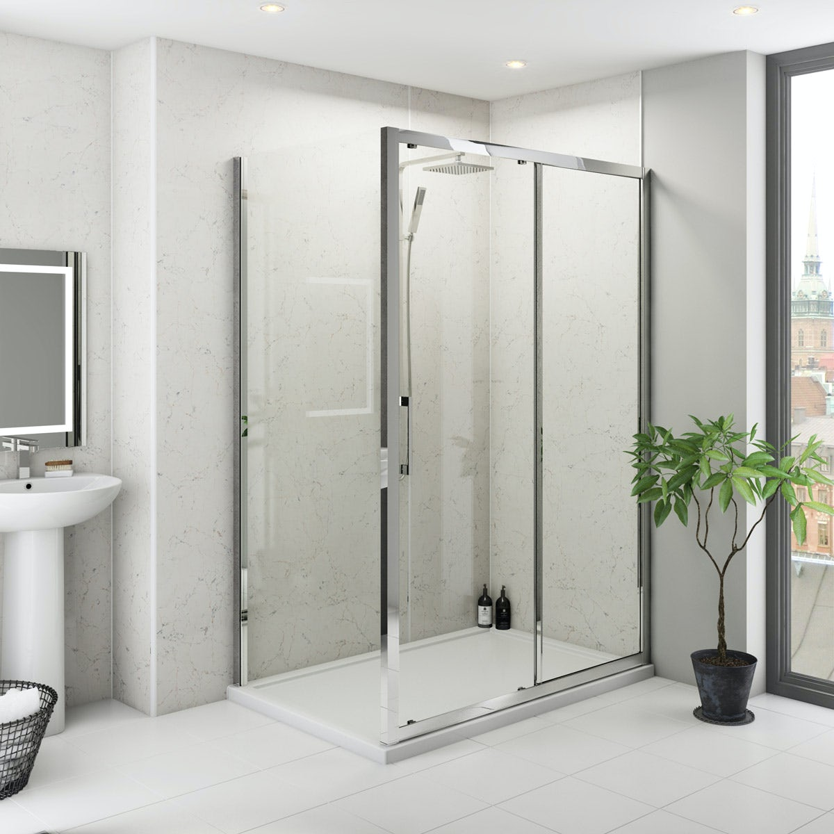 Multipanel Classic Marble unlipped shower wall panel 2400 x 1200