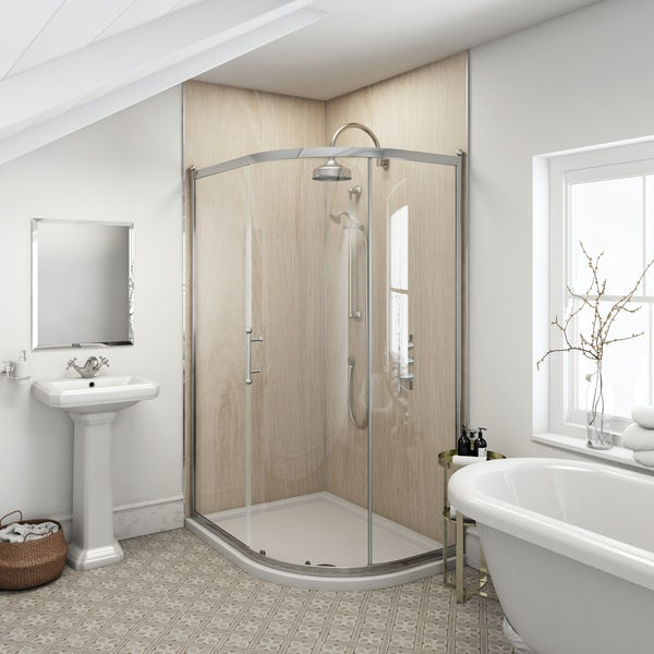 Multipanel Heritage Alabaster Oak unlipped shower wall panel 2400 x 1200