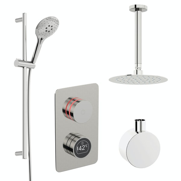 Mode Touch digital thermostatic shower set with round ceiling arm and slider kit