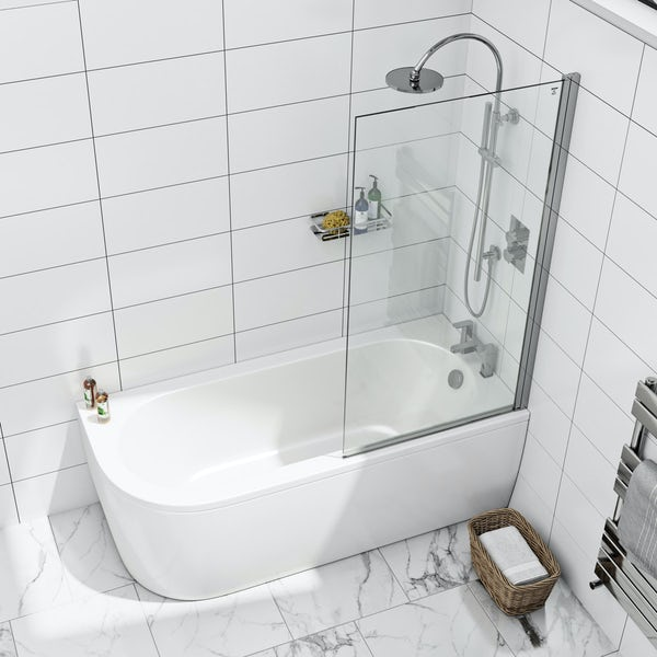 8mm square top right handed hinged bath screen