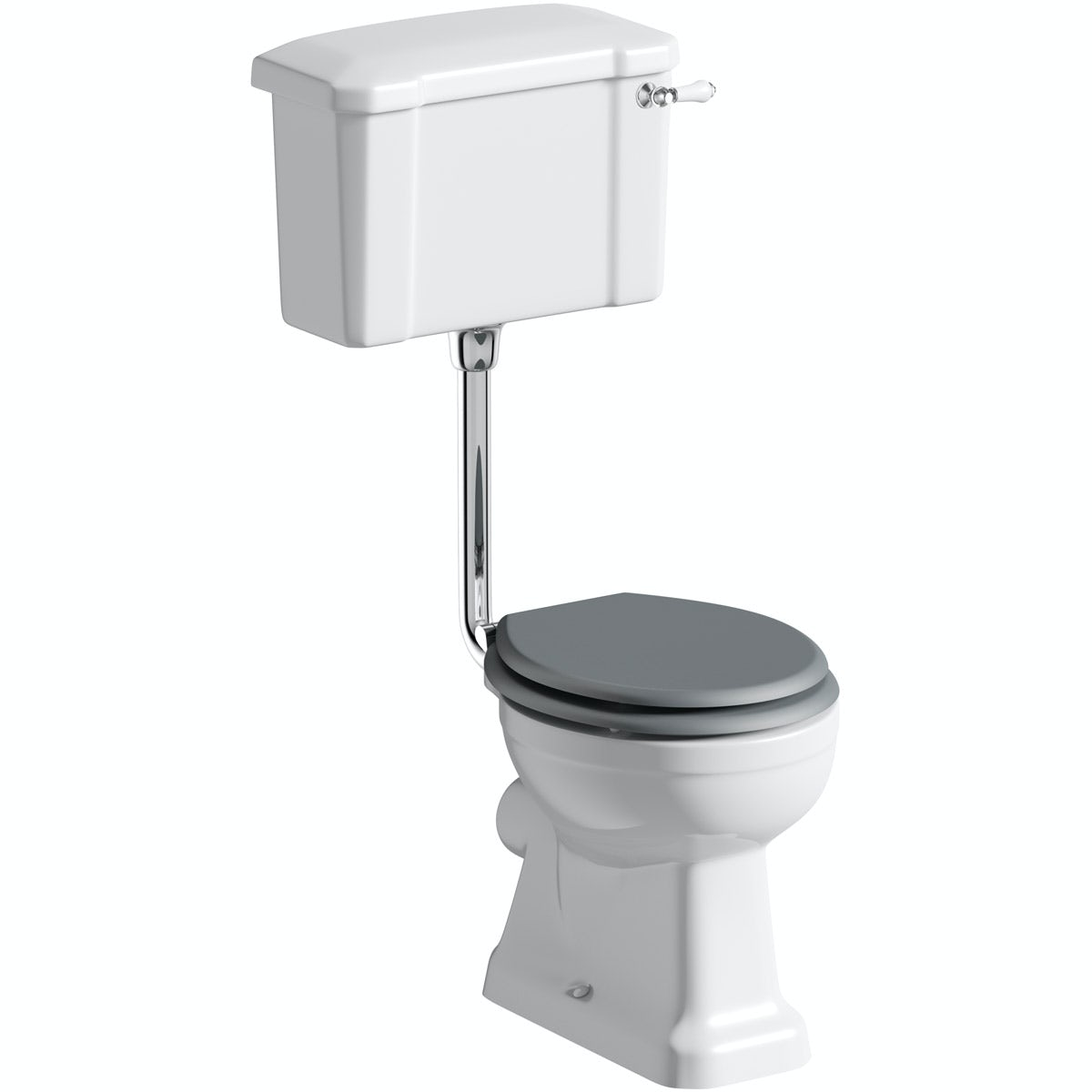 The Bath Co. Camberley low level toilet inc grey soft close seat with pan connector