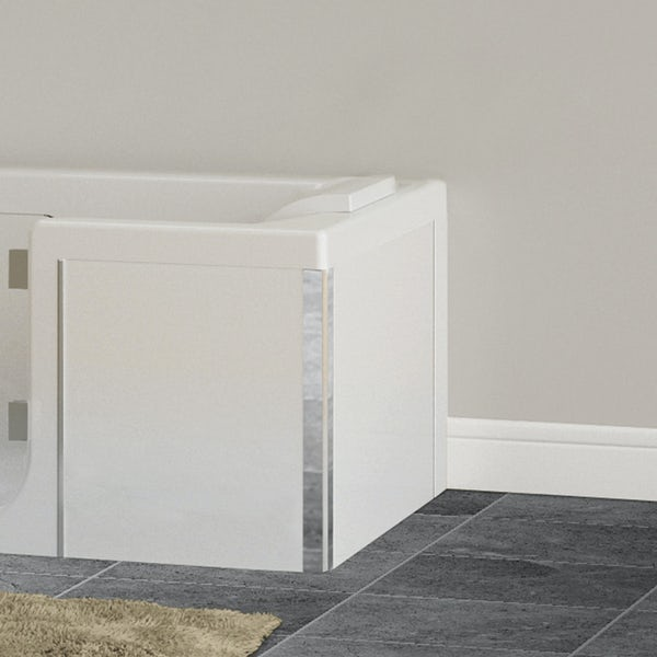 Kineduo white glass end panel 750mm