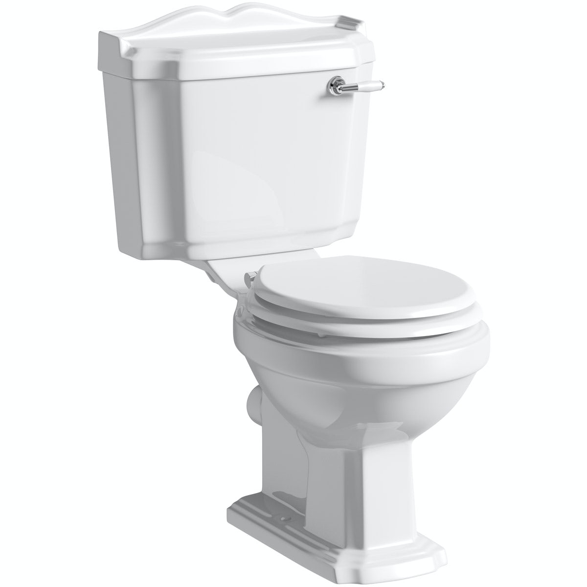 The Bath Co. Winchester close coupled toilet with painted wood seat white