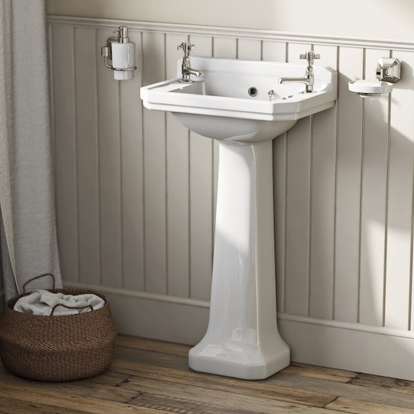 Camberley 2TH Cloakroom Basin & Pedestal