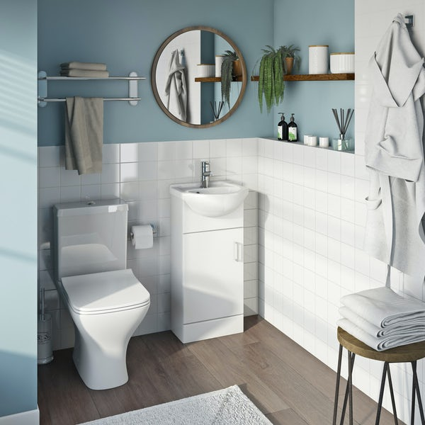 Eden white cloakroom unit with Compact square close coupled toilet