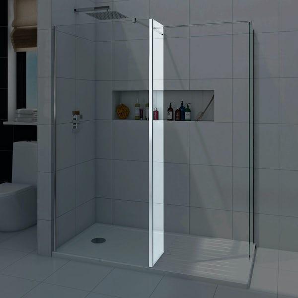 8mm wet room glass return panel 300