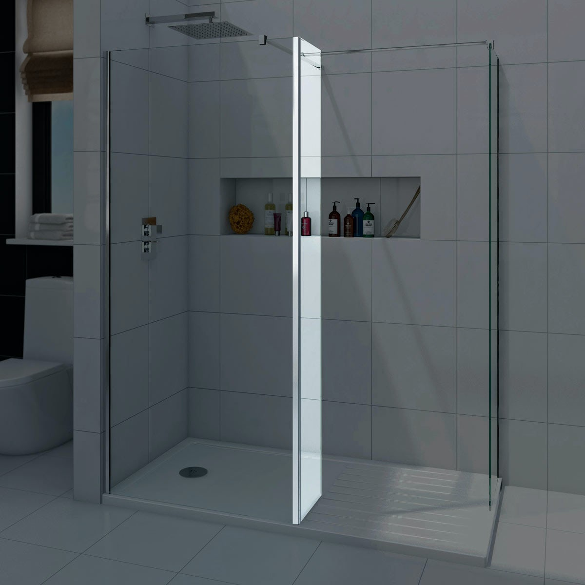 Mode luxury 8mm walk in shower enclosure with tray for Wet room shower screen 400mm