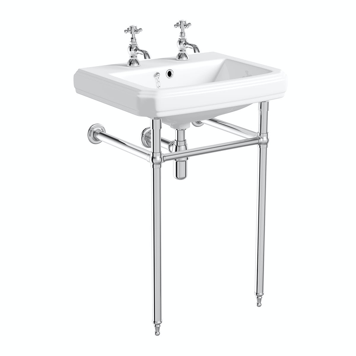The Bath Co. Traditional 2 tap hole washstand with Dulwich basin