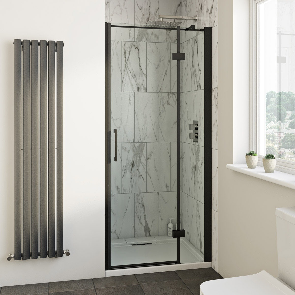 Mode Cooper black hinged easy clean shower door offer pack