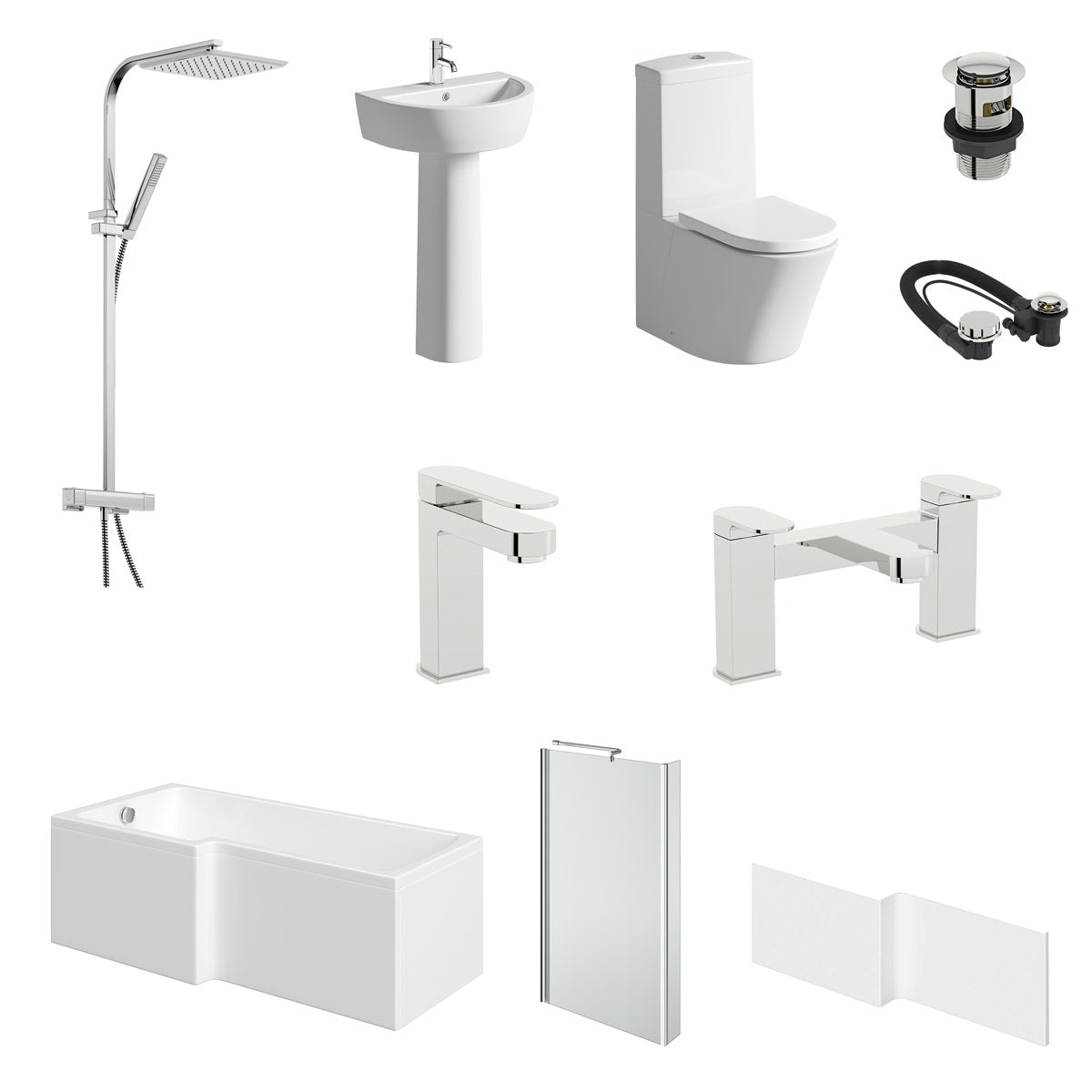 Mode Tate bathroom suite with left hand bath, shower and taps