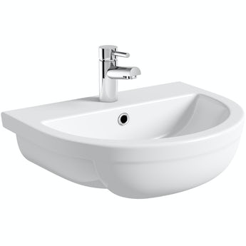 Elena 1 tap hole semi recessed counter top basin 500mm