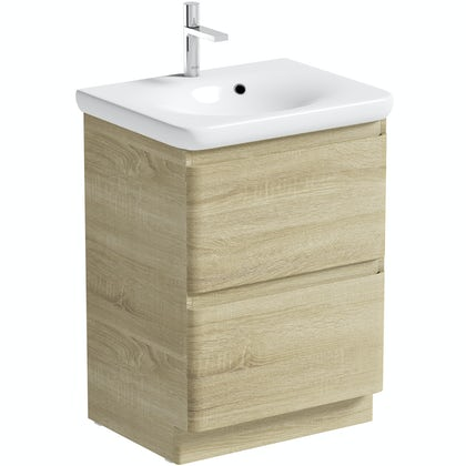Mode Heath oak floor standing unit and basin 600mm