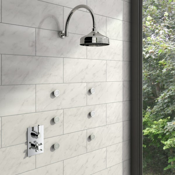 Traditional Thermostatic Twin Diverter Valve, Body Jets & Shower Head Set