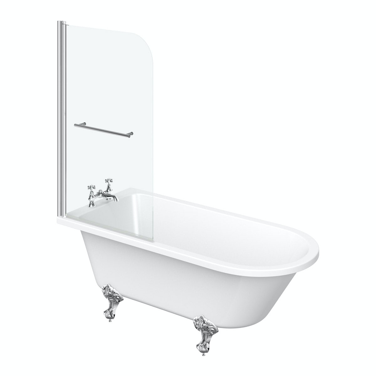 The Bath Co. Dulwich freestanding shower bath and bath screen with rail